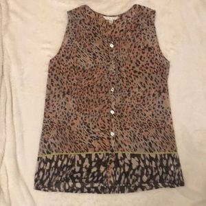 CAbi Pink & Brown Leopard Sleeveless Blouse